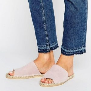 ASOS Suede Mule Slide Sandals - Blush Pink (NWT)